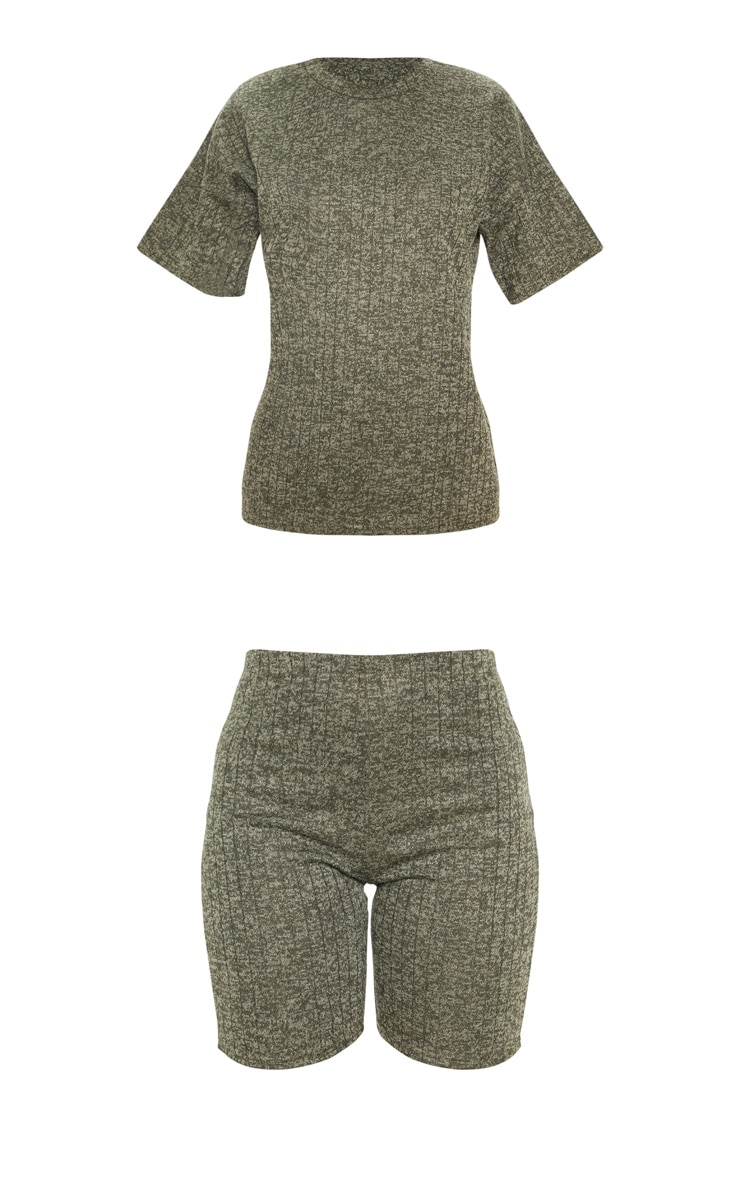 Khaki Rib T Shirt & Bike Short Set 3