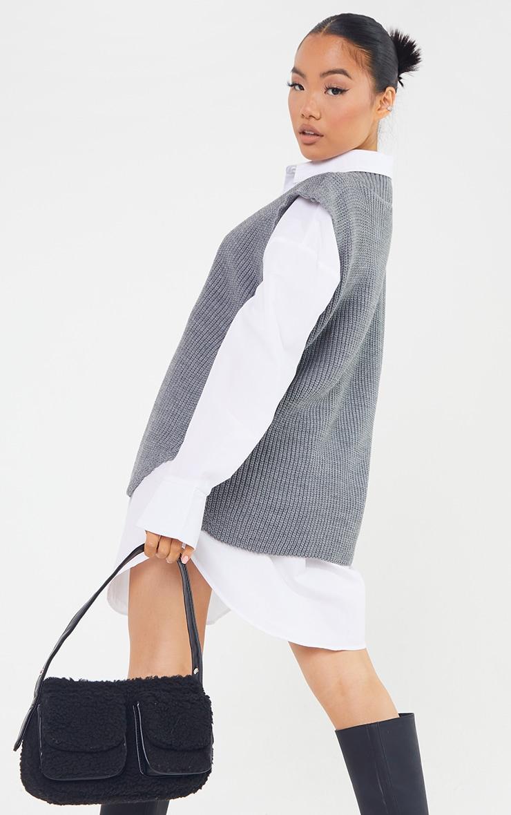 Petite Marl Grey V Neck Knitted Side Split Vest  2