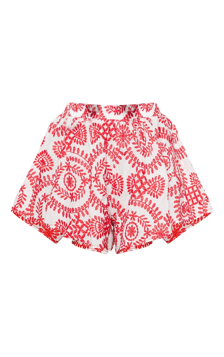 Red Embroidered Shorts 3
