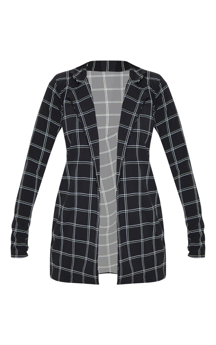 Black Tweed Check Fitted Blazer 3