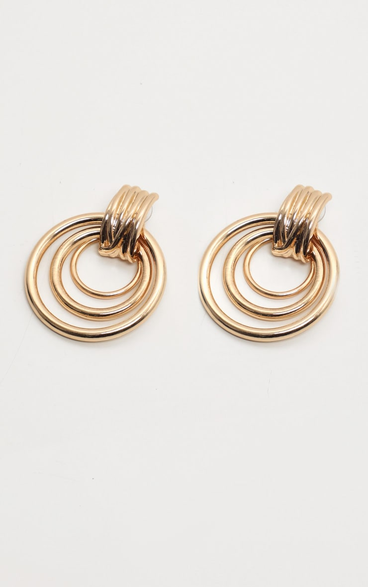 Gold Multi Hoop Door Knocker Earring 2