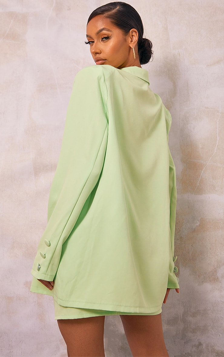 Pale Lime Woven Button Sleeve Detail Blazer 2