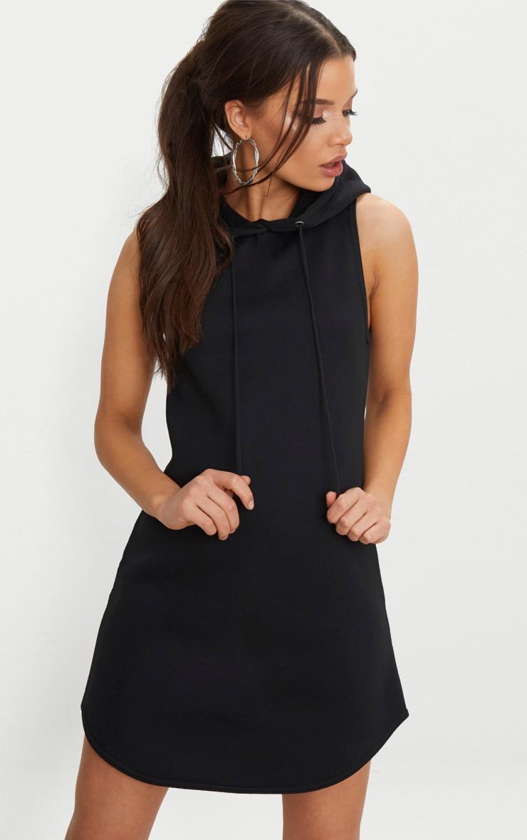 Black Hooded Sleeveless Jumper Dress 1