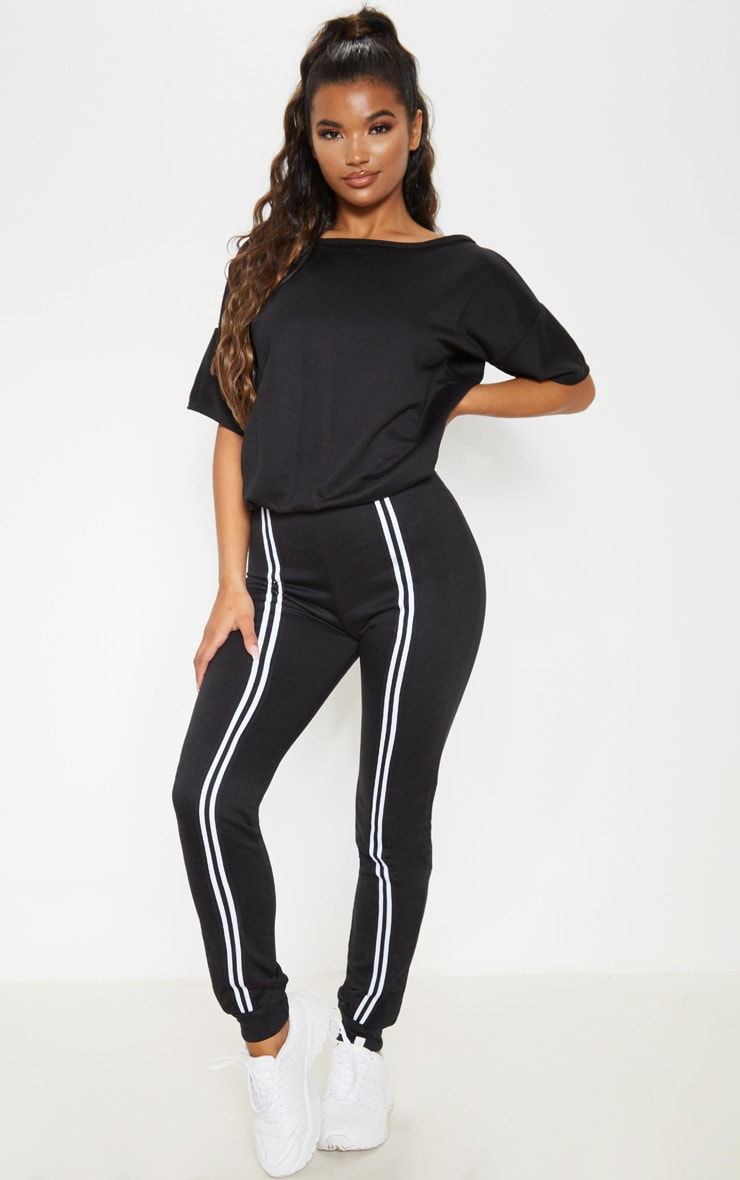 Black Loop Back Sports Stripe Jumpsuit 1
