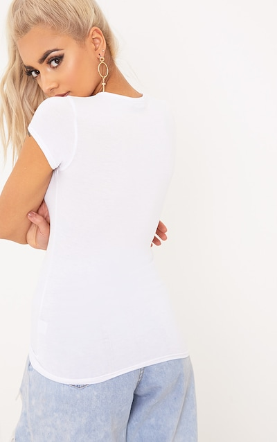 Basic White Crew Neck Fitted T Shirt