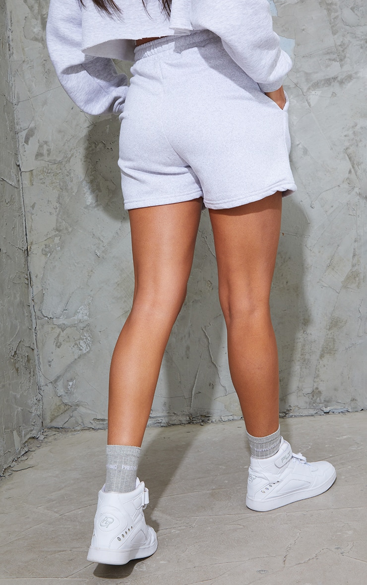 PRETTYLITTLETHING Grey Marl Embroidered Sweat Shorts 3