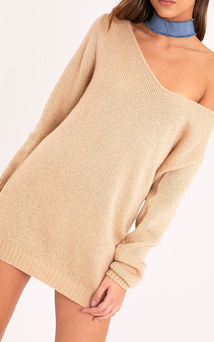 Teylie Stone Soft Knitted Off Shoulder Mini Dress 5