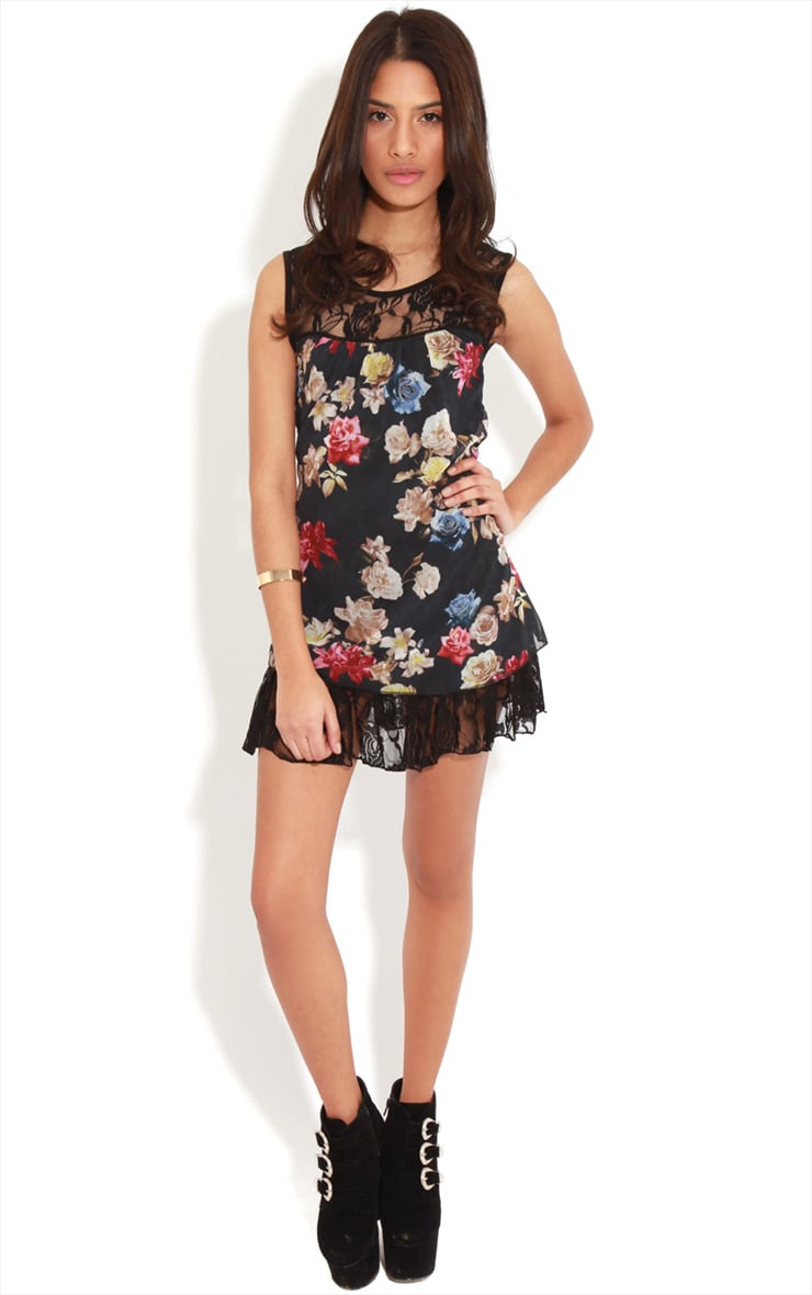 Ffion Floral Babydoll Dress With Lace Trim 3