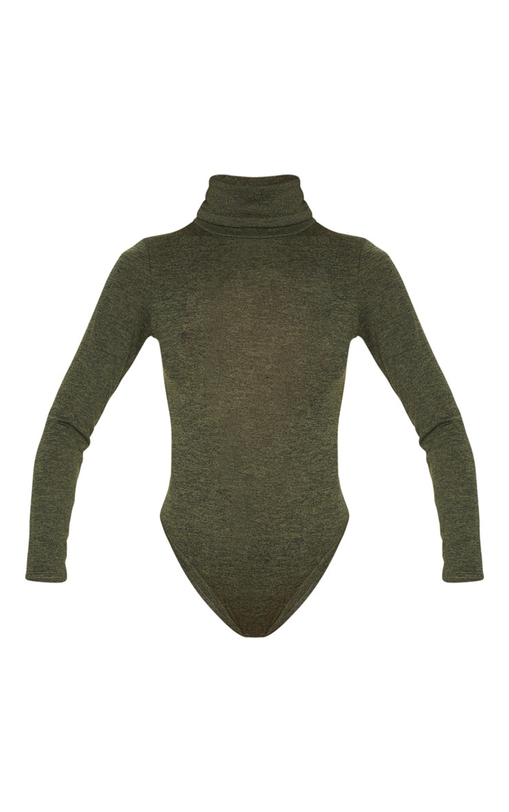 Khaki Marl Roll Neck Long Sleeve Bodysuit 3