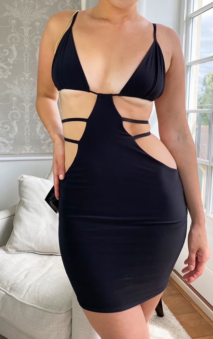 Black Cut Out Slinky Bodycon Dress 4