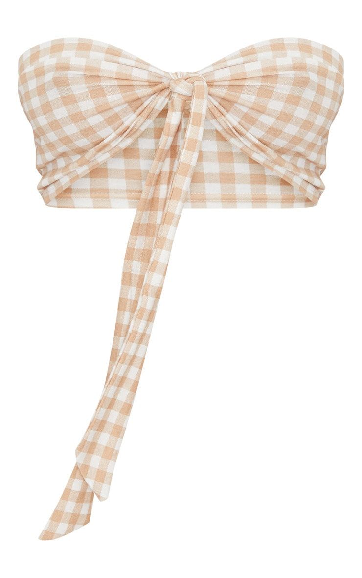 Nude Gingham Tie Front Bandeau Top 3