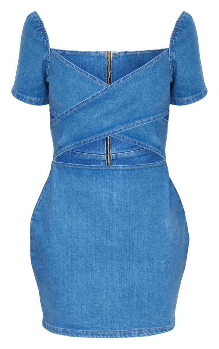Mid Blue Wash Cut Out Front Denim Dress 5