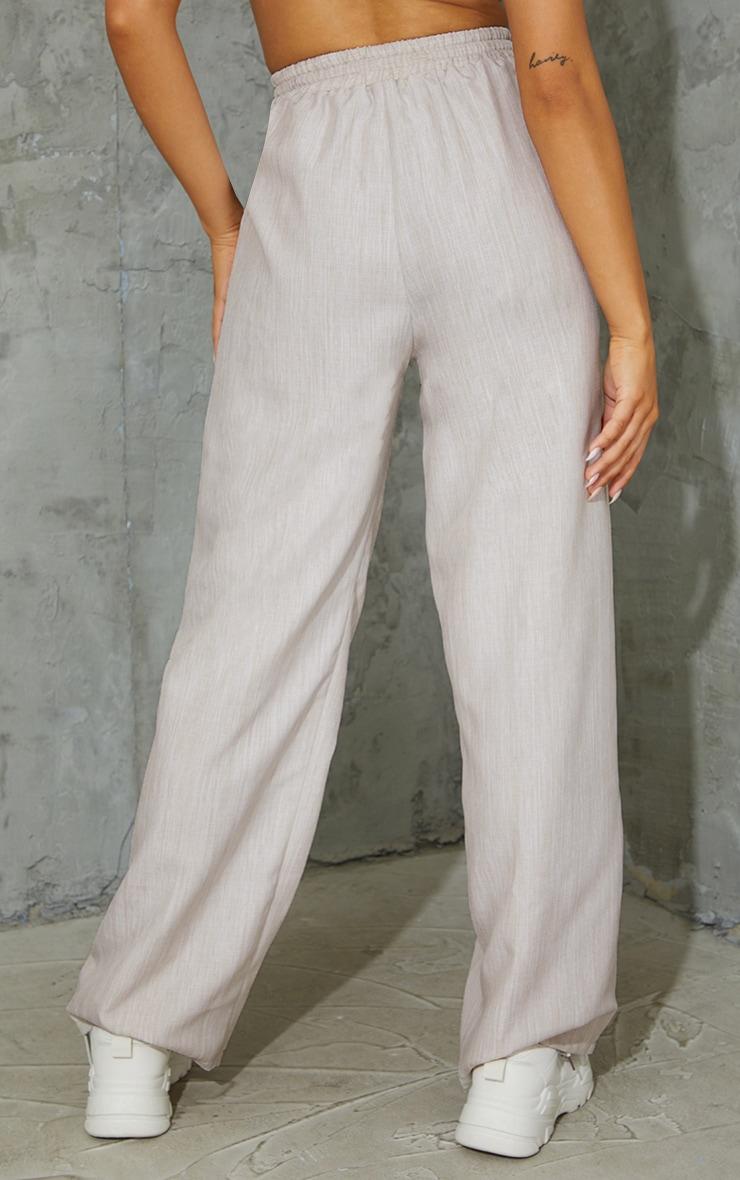 Stone Casual Linen Feel Wide Leg Trousers 3