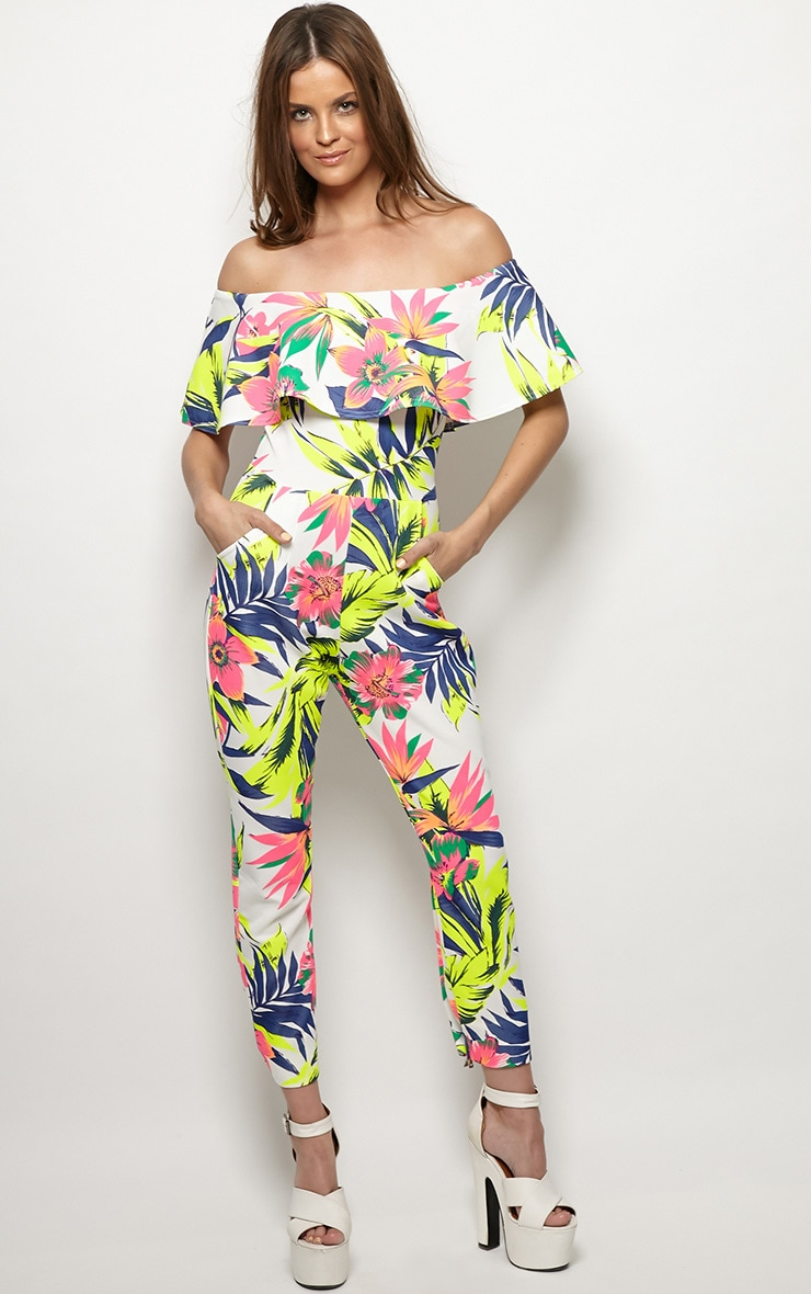 Skye Neon Tropical Print Frill Jumpsuit 1