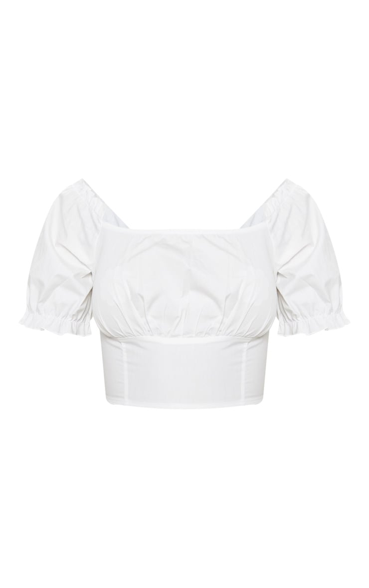 White Bardot Puff Sleeve Ruched Crop Top 3