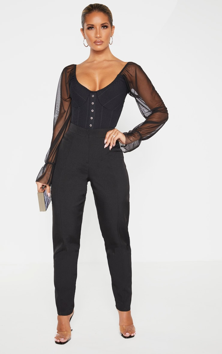 Black Rib Mesh Sleeve Bodysuit 4
