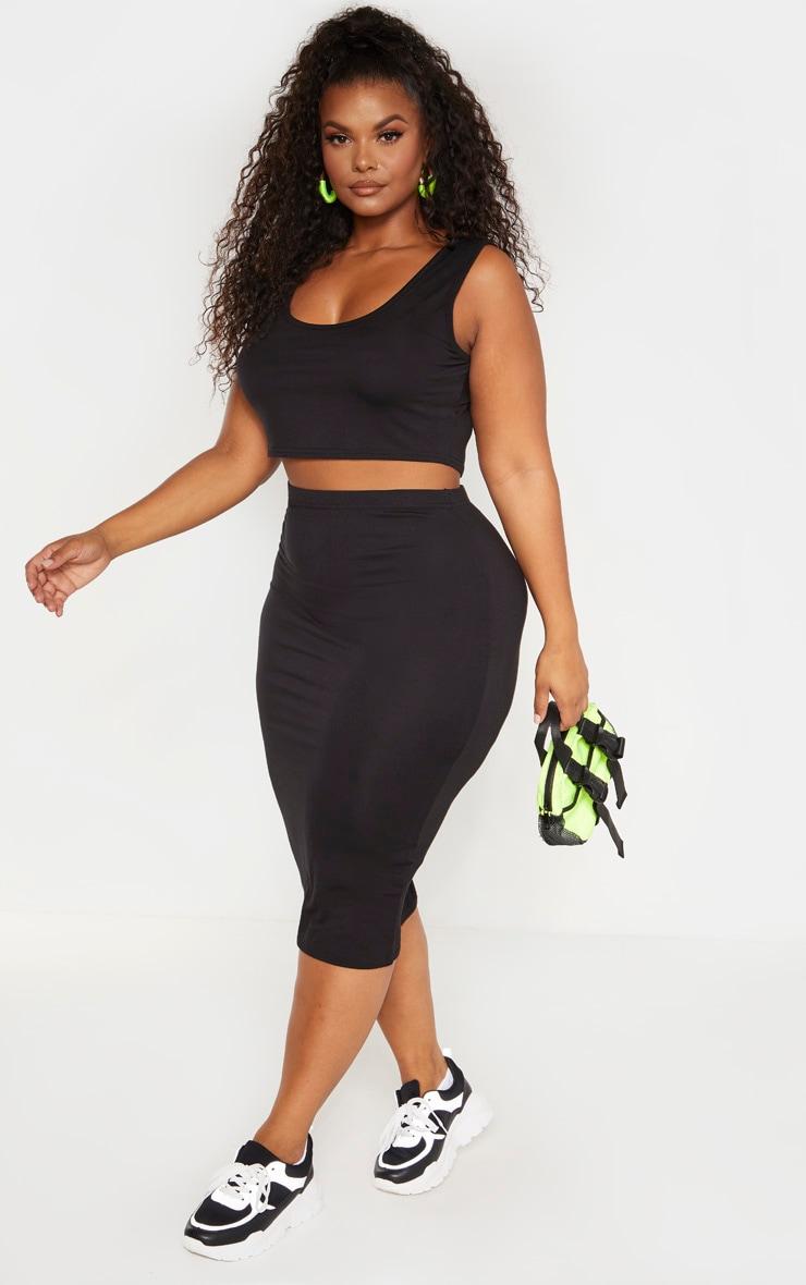 Plus Black Jersey Midi Skirt 1