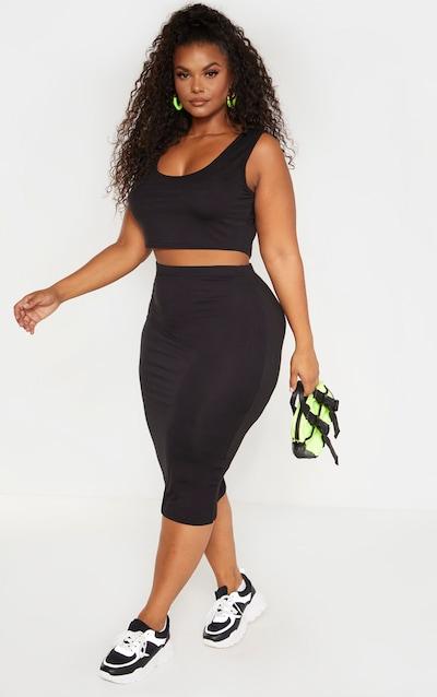 Plus Black Jersey Midi Skirt