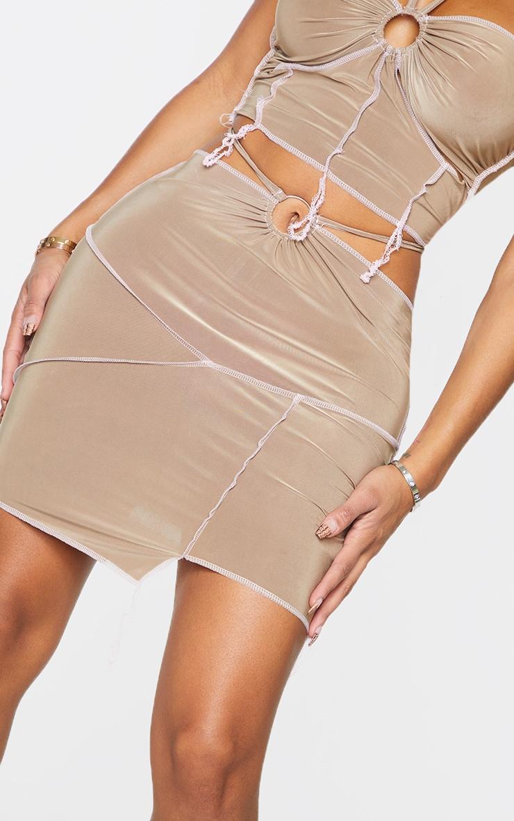 Shape Soft Brown Slinky Overlock Ring Detail Bodycon Skirt 5