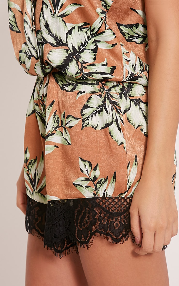 Larae Tan Silky Tropical Print Lace Trim Playsuit 6