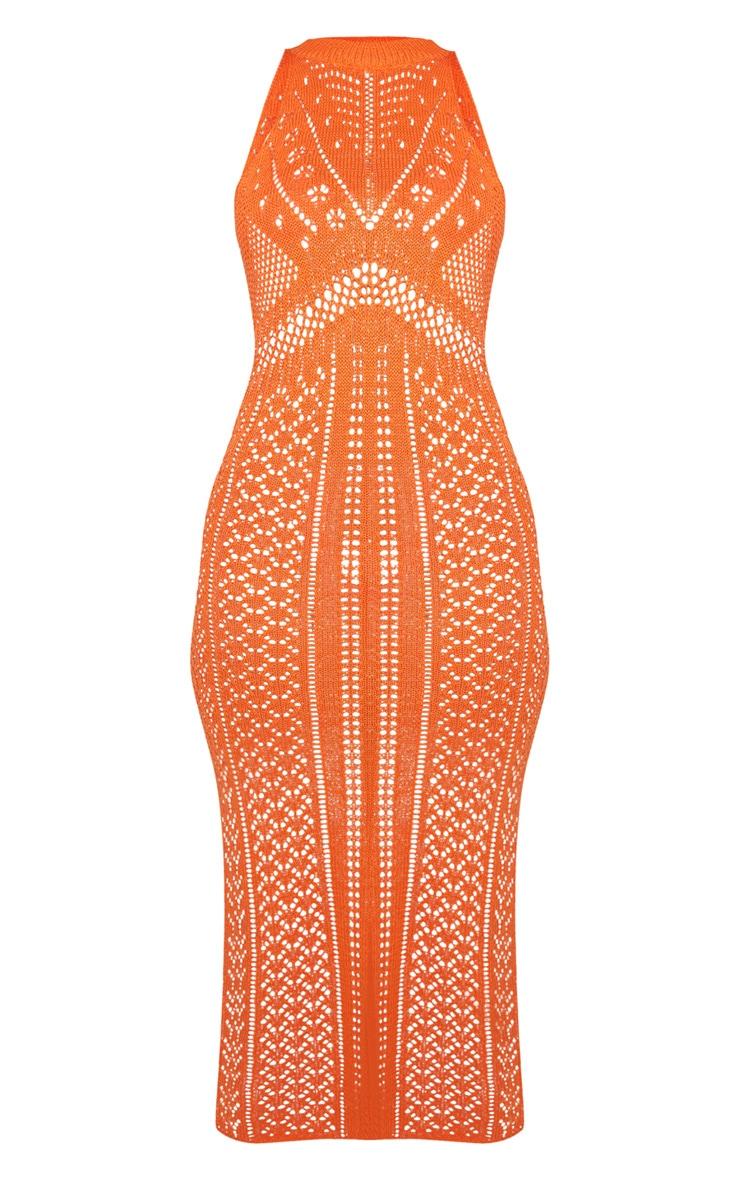 Orange Cut Out Detail Crochet Knit Midi Dress 5
