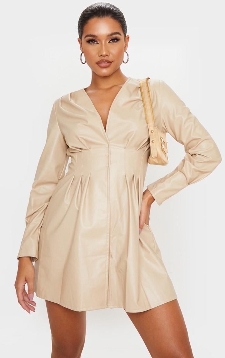 Stone Faux Leather Pleat Detail Long Sleeve Shift Dress 1