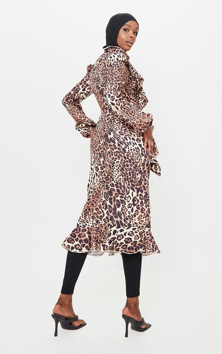 Tan Leopard Printed Frill High Neck Midi Dress 2