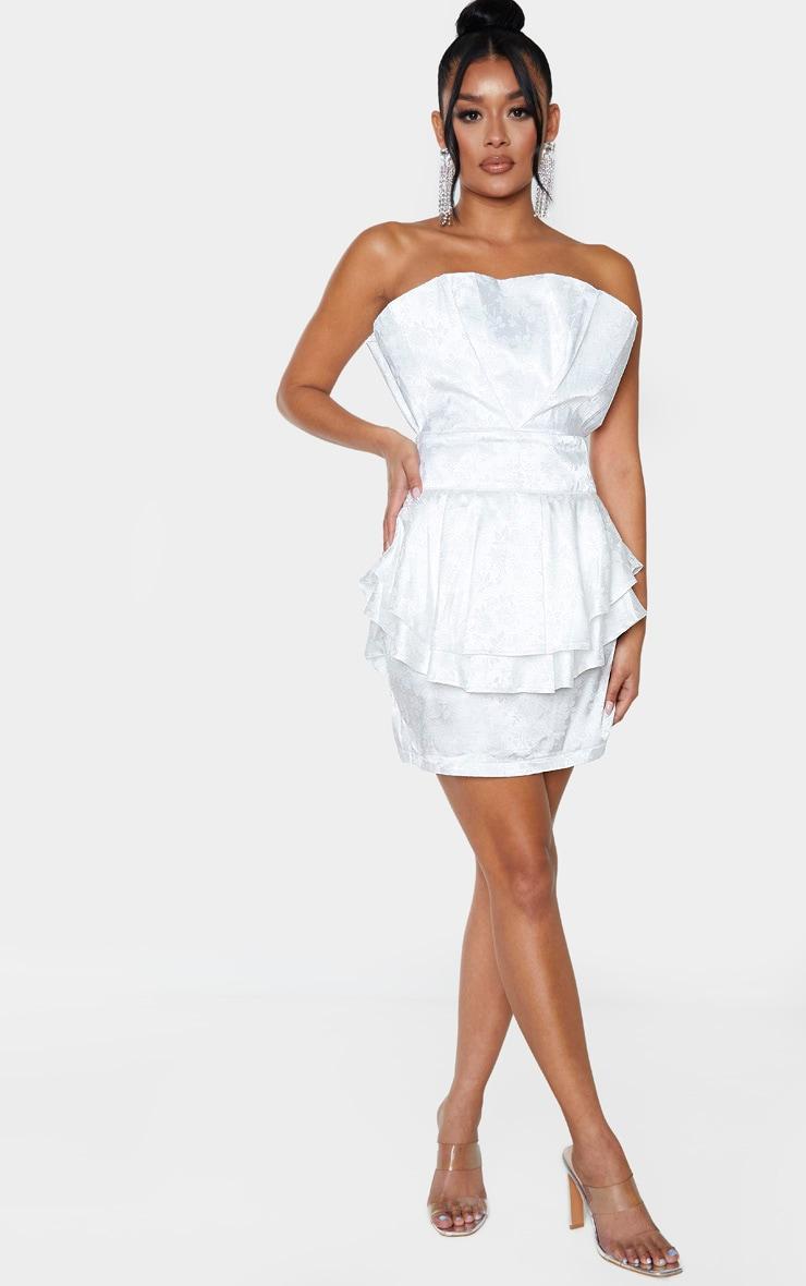 White Jacquard Bandeau Peplum Bodycon Dress 4