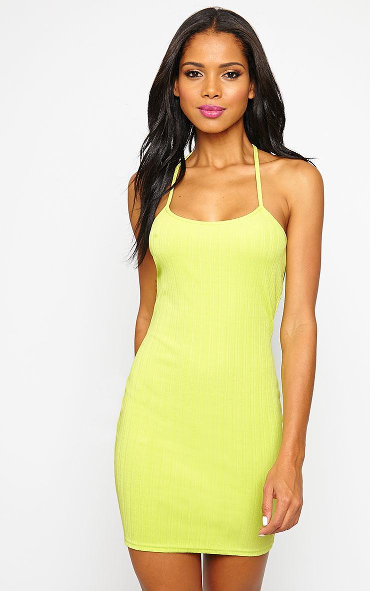 Kyla Lime Ribbed Mini Dress 4