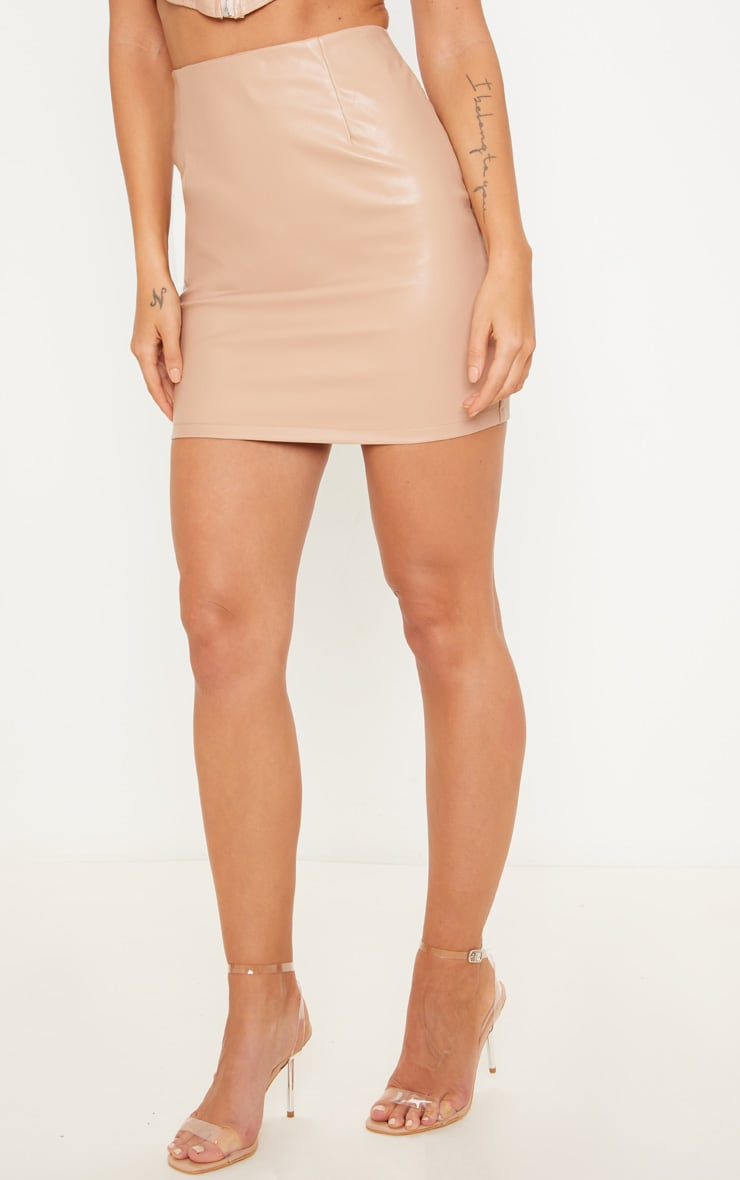 Nude PU Mini Skirt 2