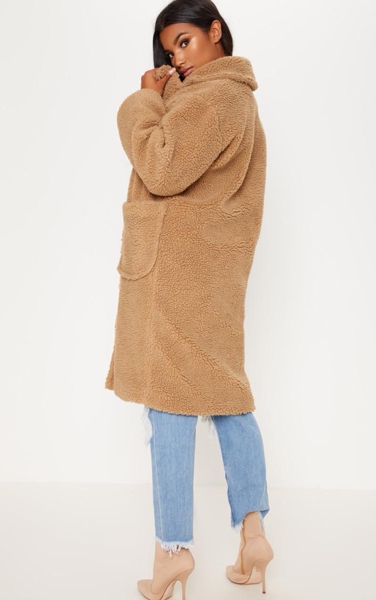 2019 professionnel nouveau style et luxe nouveaux articles Manteau long camel en imitation peau de mouton
