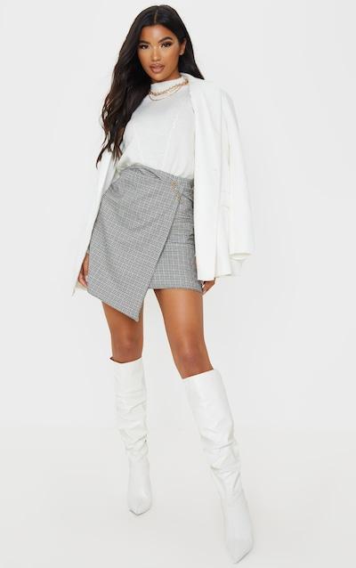Grey Check Wrap Mini Skirt
