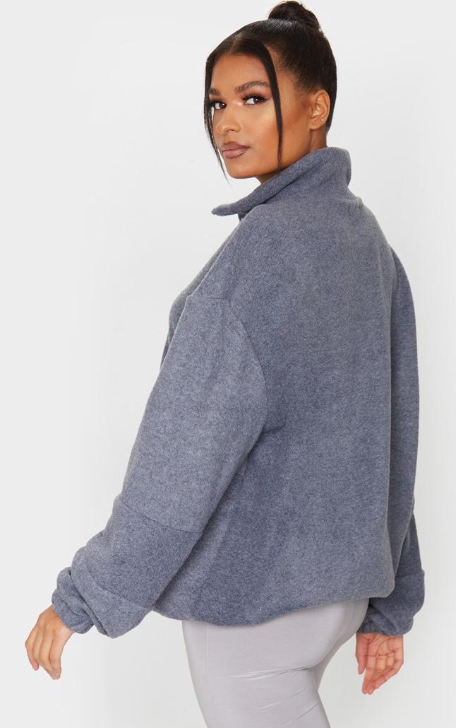 Charcoal Grey Fleece Zip Front Oversized Sweater 2