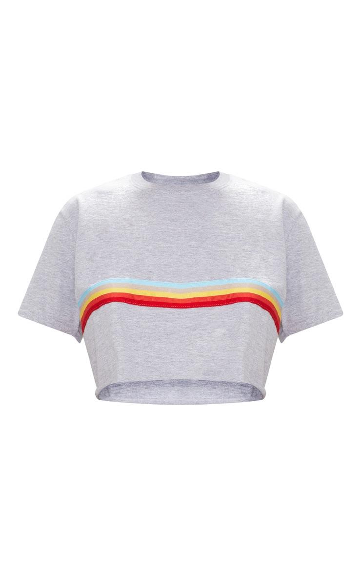 Grey Marl Rainbow Sporty Tape Crop T Shirt  2