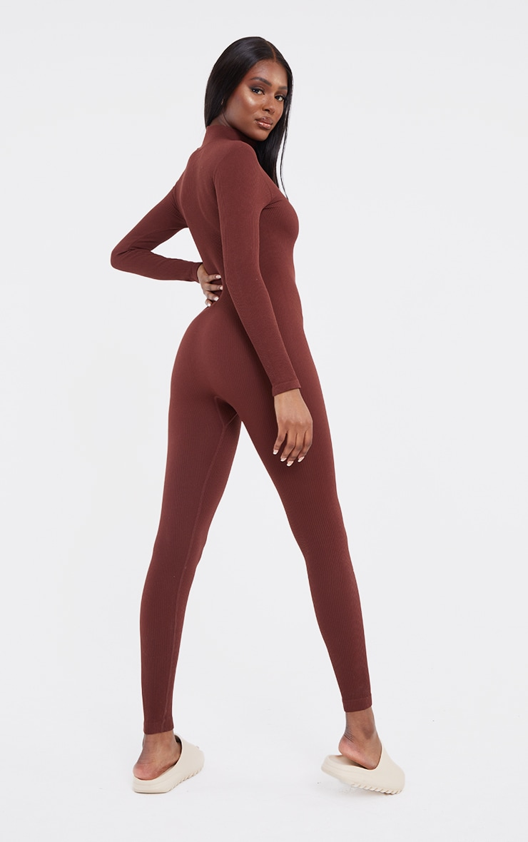 Tall Chocolate Structured Contour Rib Jumpsuit 2