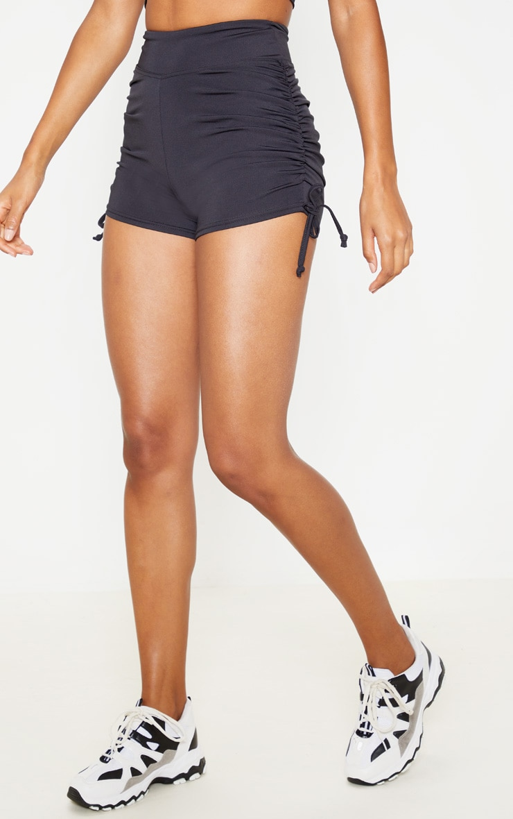 Black Ruched Side Seam Booty Shorts 2
