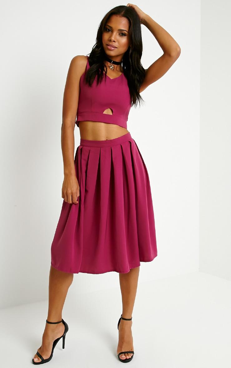 Merinda Berry Pleated Midi Skirt 1