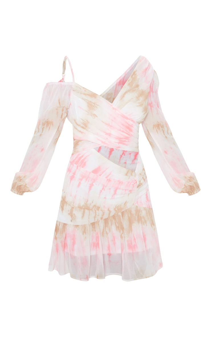 Multi Tie Dye Chiffon Cut Out Skater Dress 3