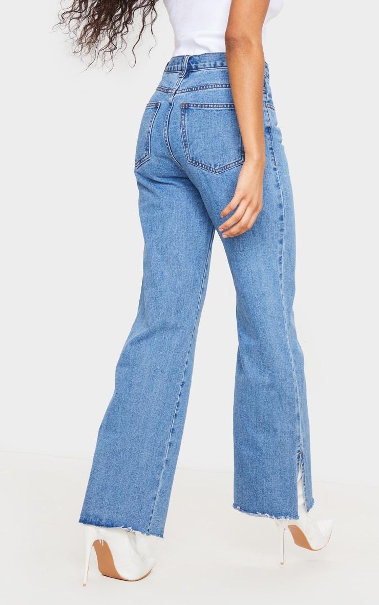 Light Wash Button Detail Split Hem Jeans 3