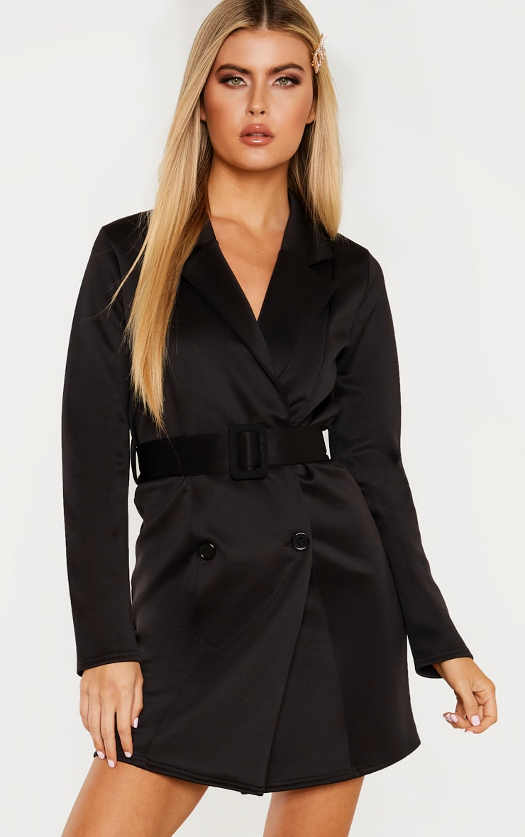 Tall Black Tailored Belt Detail Blazer Dress 1