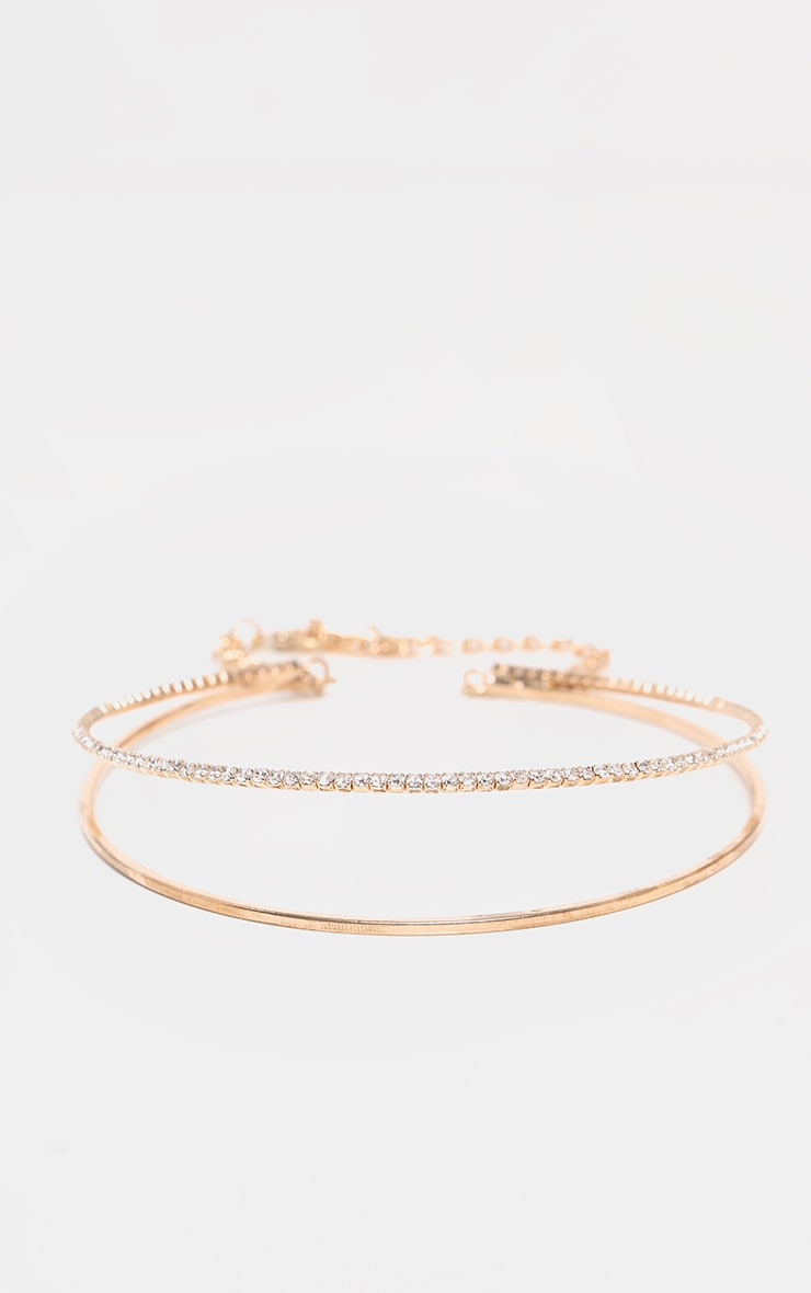 Gold Diamante Double Choker Necklace 4