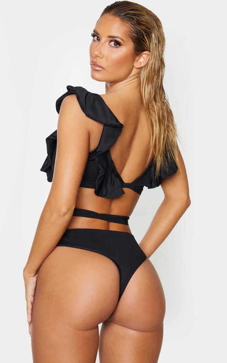 Black Frill Tie Front Bikini Top 2