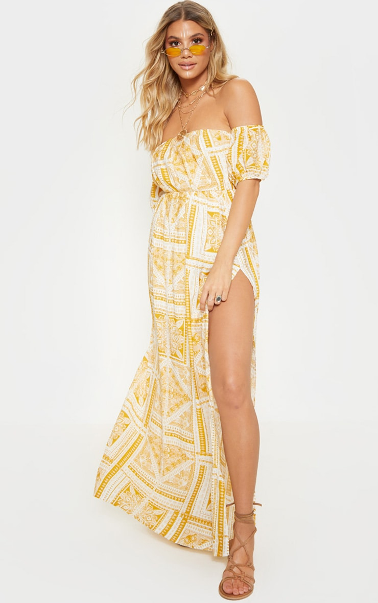 Yellow Paisley Tile Print Bardot Maxi Dress 4