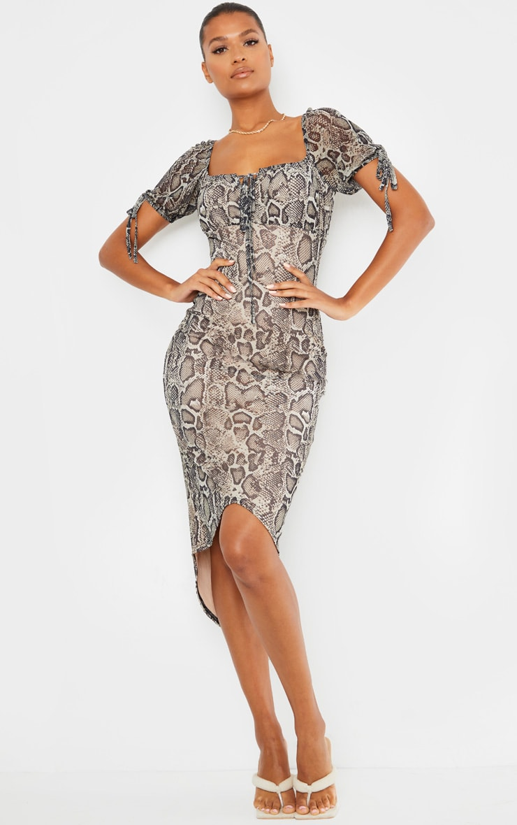 Stone Snake Print Mesh Short Sleeve Midi Dress 1