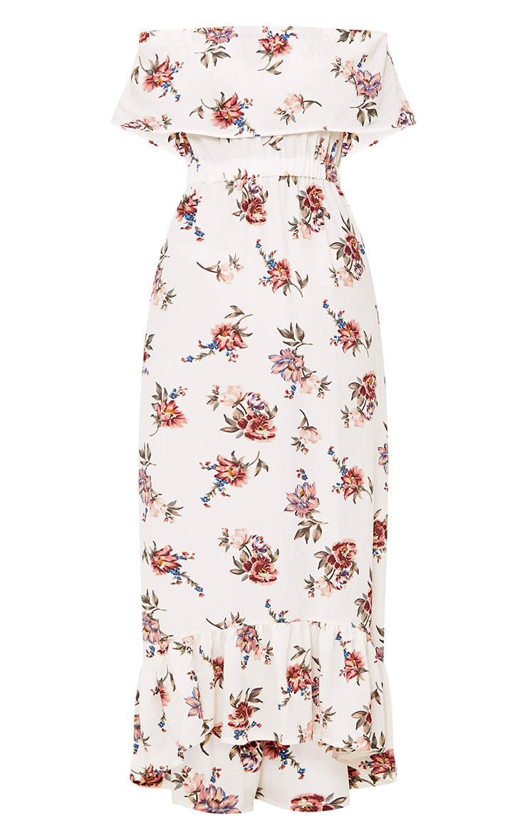 Julianna White Bardot Floral Maxi Dress 3