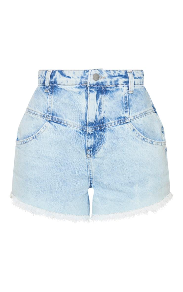 Bleach Wash High Waist Mom Fit Denim Shorts 6