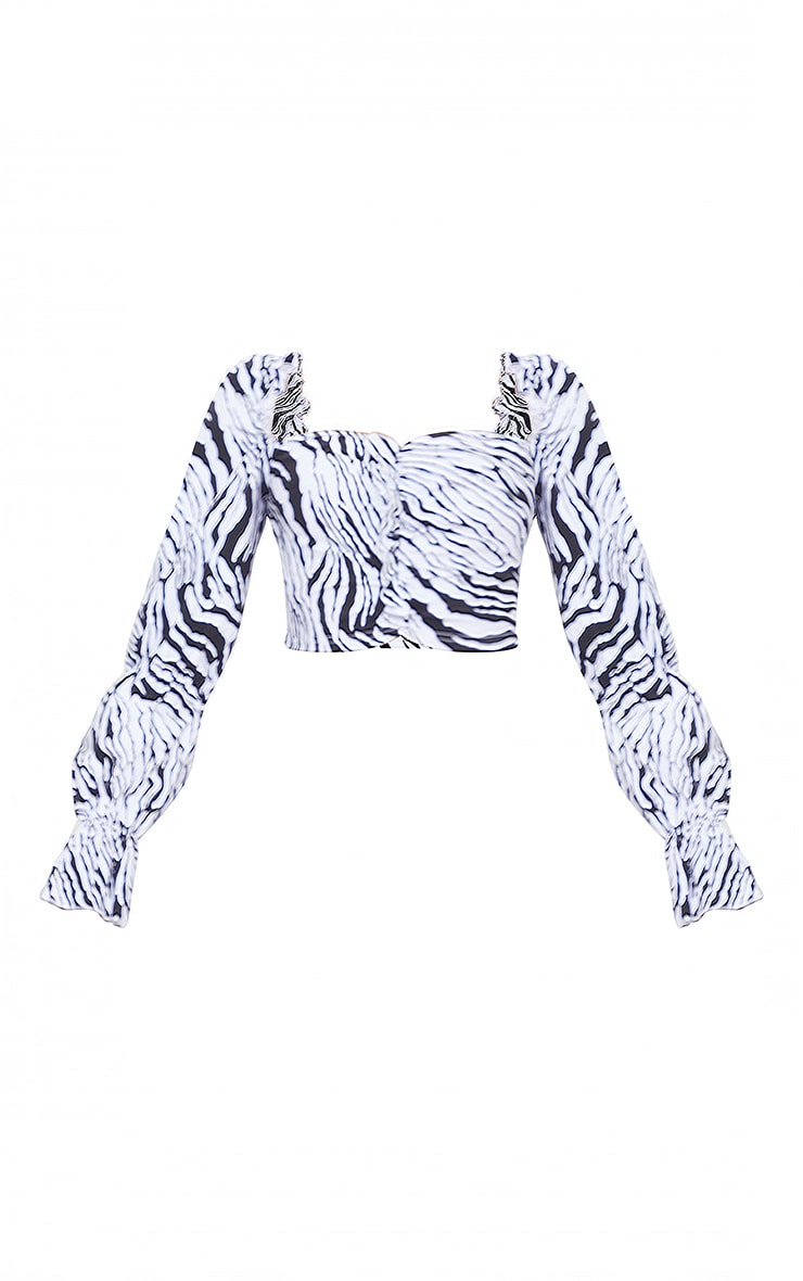 Black Zebra Print Woven Stretch Frill Ruched Front Long Sleeve Crop Top 5