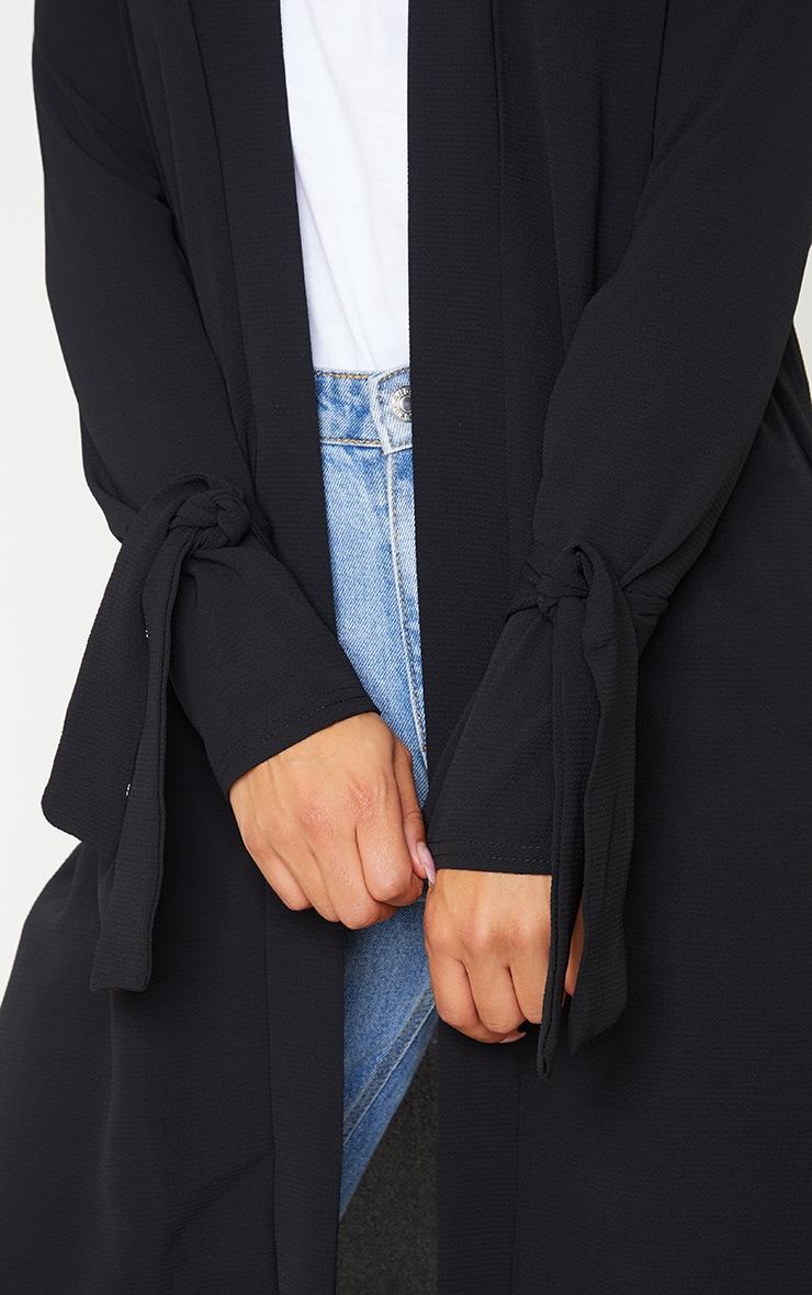 Aba Black Sleeve Tie Detail Duster Jacket 6