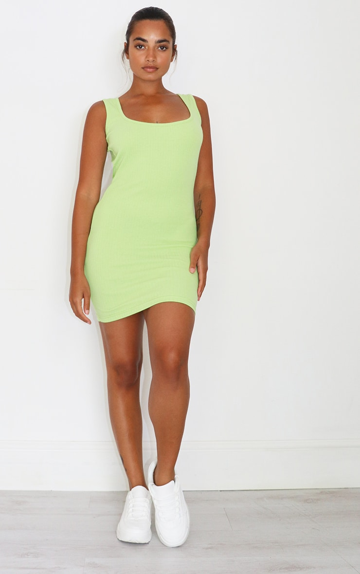 Petite Lime Low Back Ribbed Dress 2