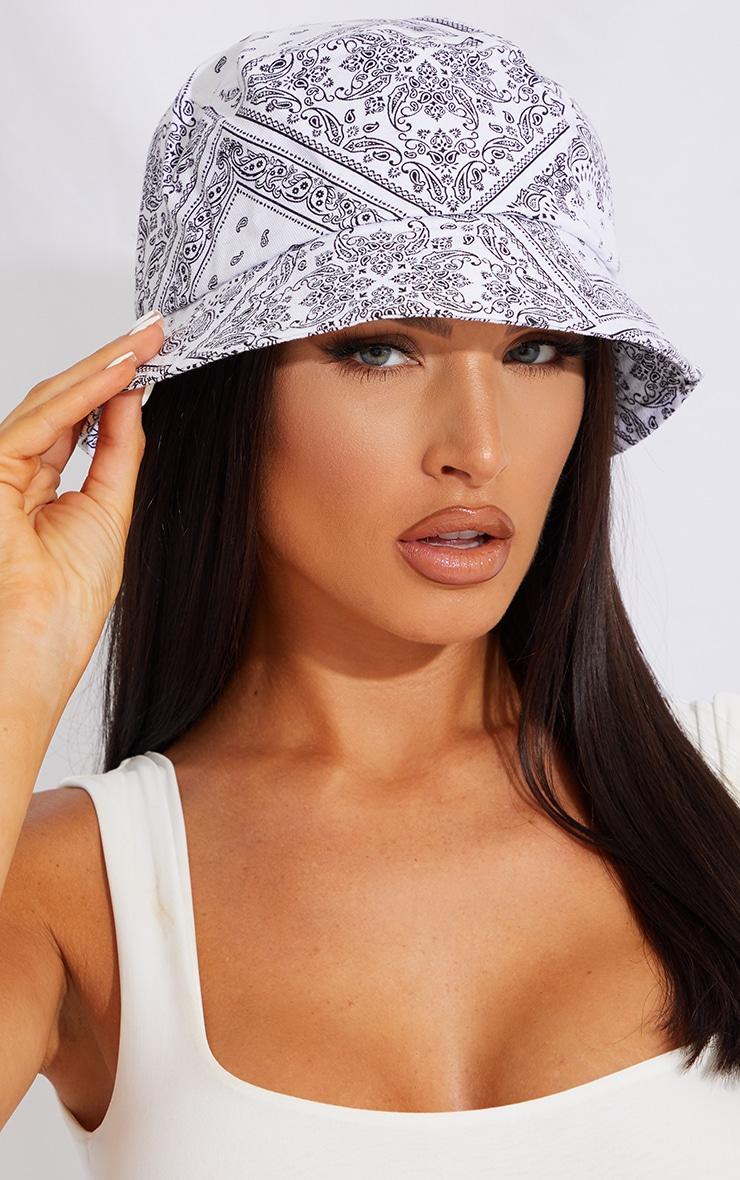 White Scarf Print Bucket Hat 1
